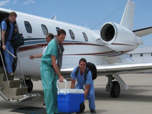 انتقال با آمبولانس هوایی - کمک به حمل و نقل اعضای بدن